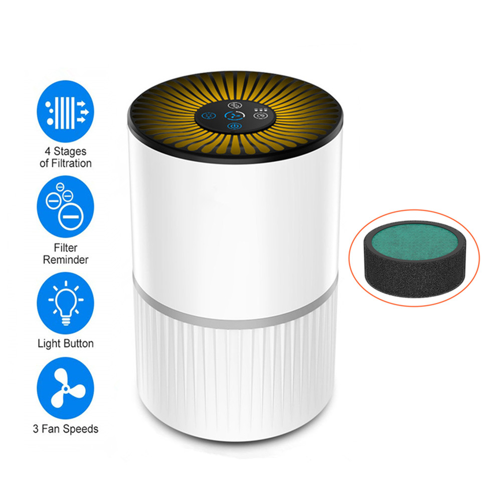 Home 3 Modes Portable Air Purifier USB Charge LED Night Light True HEPA Filter Air Cleaner Anion Ionizer Negative Ion Generator
