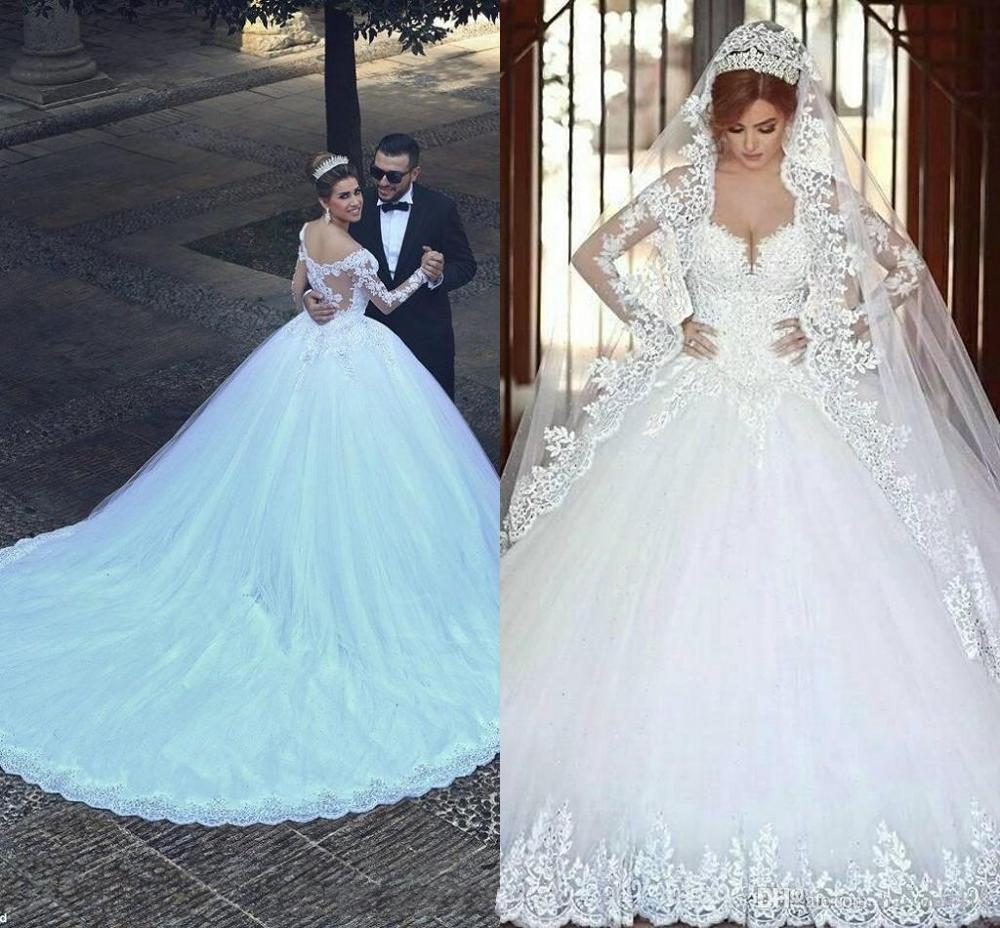 Luxury Vintage Full Sleeves Lace Wedding Dress 2020 Ball Gown Princess Bridal Wedding Gowns Vestido De Noiva