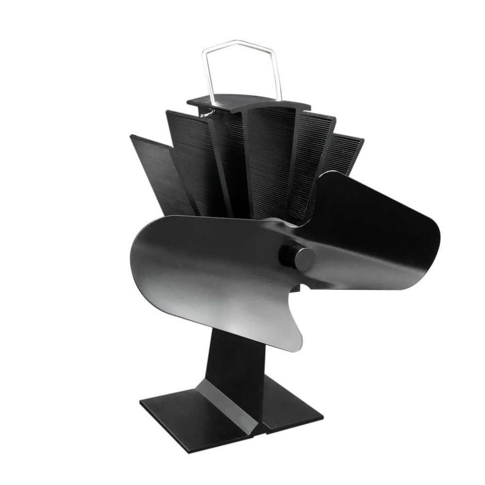 Duurzaam 2 Blades Aluminium Zwart Warmte Aangedreven Kachel Fan Brandstofbesparing Milieuvriendelijke Houten Brander Kachel Fan Ultra-stille