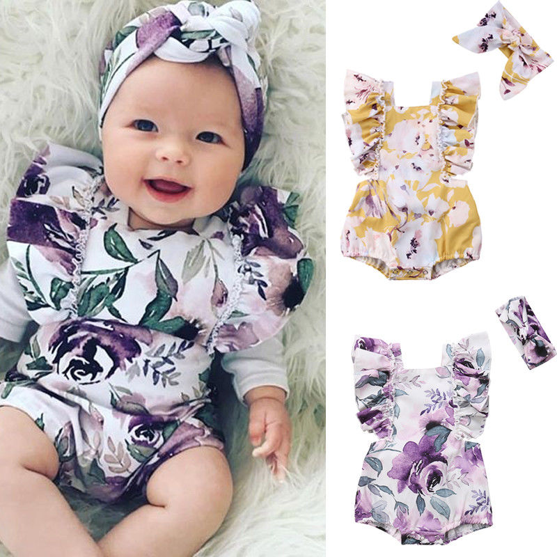 Pudcoco 0-24M Newborn Infant Toddler Baby Girl Short Floral Printed Jumpsuit Bodysuit+Hair Handband  Cotton Clothes Outfit