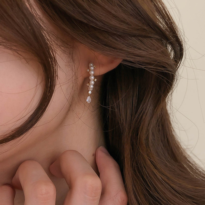 AOMU 2020 Korea New Elegant Zircon Imitation Pearl Geometric Metal Gold Color Earrings for Women Jewelry Gifts