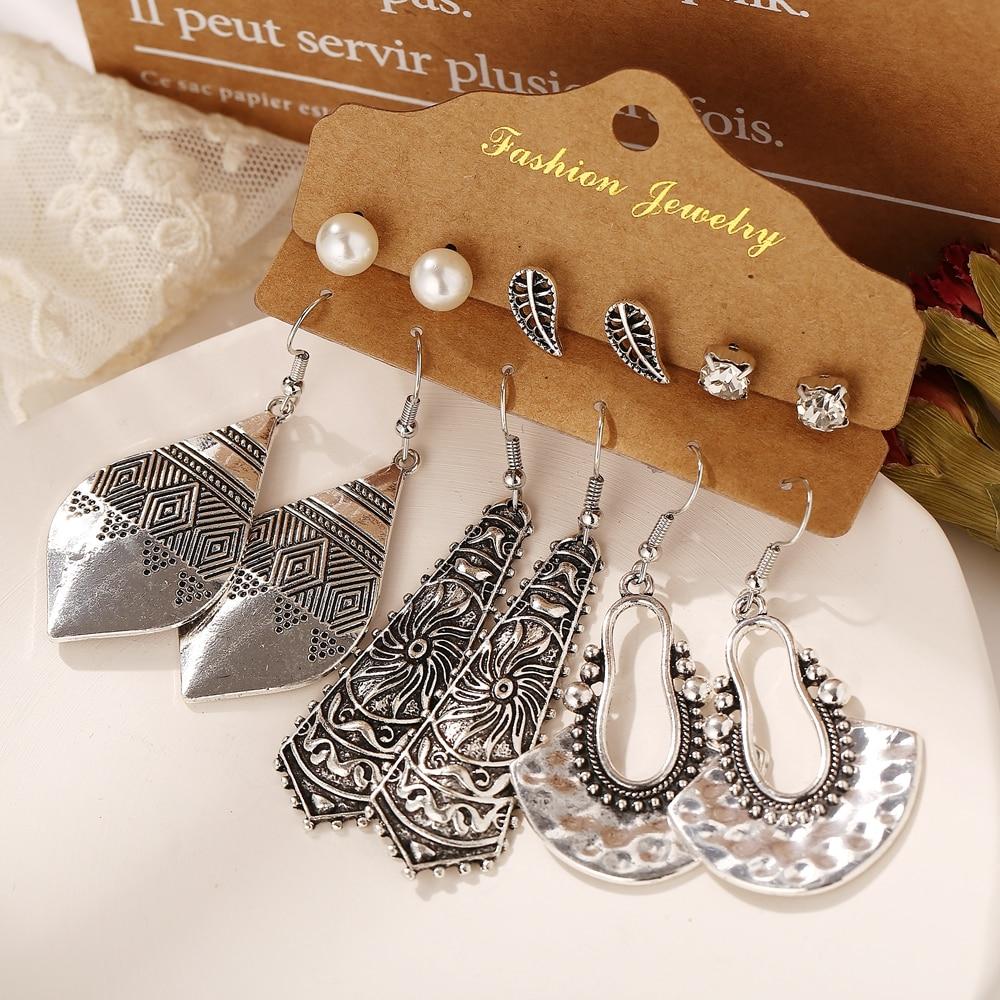 17KM Boho Ethnic Silver Color Earrings Set For Women Vintage Wood Tassel Dangle Earring 2020 New Fashion Earrings Jewelry