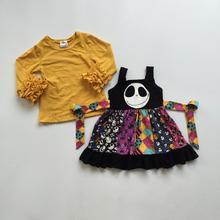 Bebek kız giysileri sonbahar elbise kıyafetler çocuk kız sarı fırfırlı üst ile burgu Cadılar Bayramı elbise hayalet yüz elbise