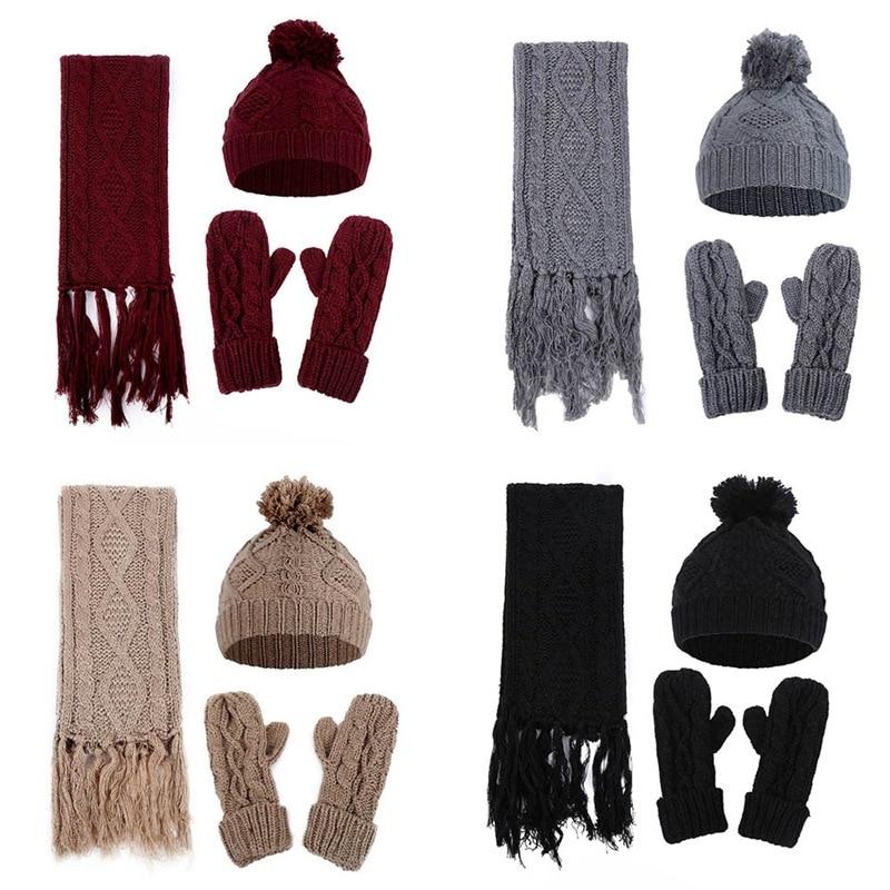 Women's Rhombus Twist Knitted Wool Scarf Hat Gloves Set Three-piece Winter Warm Set