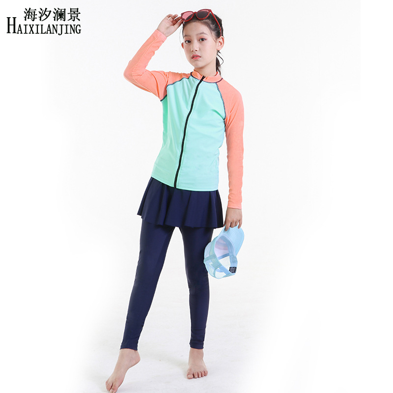 Hai Xi Lan Jing 2019 New Style GIRL'S Swimsuit Big Boy 12-15-Year-Old Students Long Sleeve Trousers Diving Wetsuit