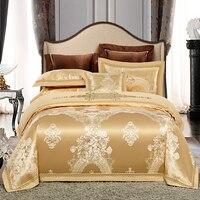 Luxury jacquard Bedding Set King Queen Size Bed Linen silk Cotton Duvet Cover Bed Sheet Set Pillowcases