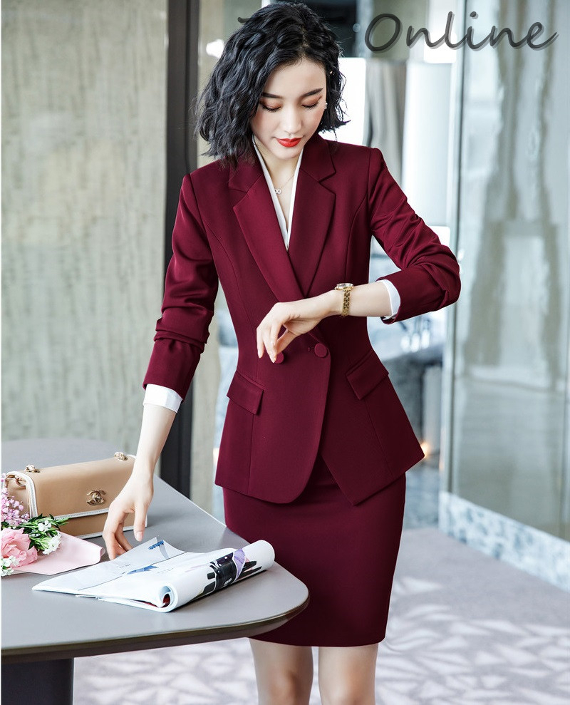 Novelty Wine Formal Women Business Suits With Skirt And Jackets Coat Ladies Office  Professional Blazers Autumn Winter OL Styles