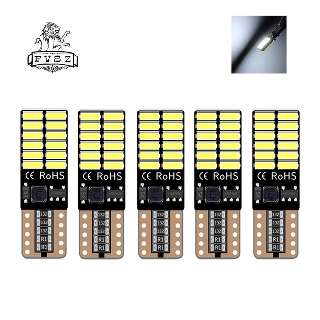 5 Pcs Canbus t10 LED 4014 W5W 194 192 501 Car bulb Marker Light lamp Tail Side Bulb Wedge Parking Dome Light Auto Styling bulbs