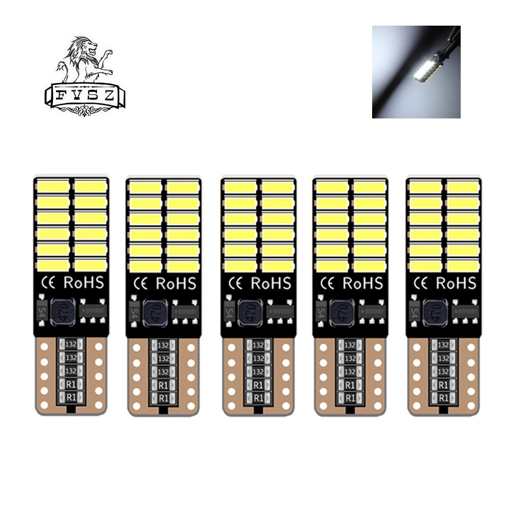 5Pcs <font><b>T10</b></font> W5W LED Car bulbs 194 192 501 4014 <font><b>24</b></font> <font><b>SMD</b></font> Marker Light lamp Tail Side Bulb Wedge Parking Dome Light Auto Styling bulb image