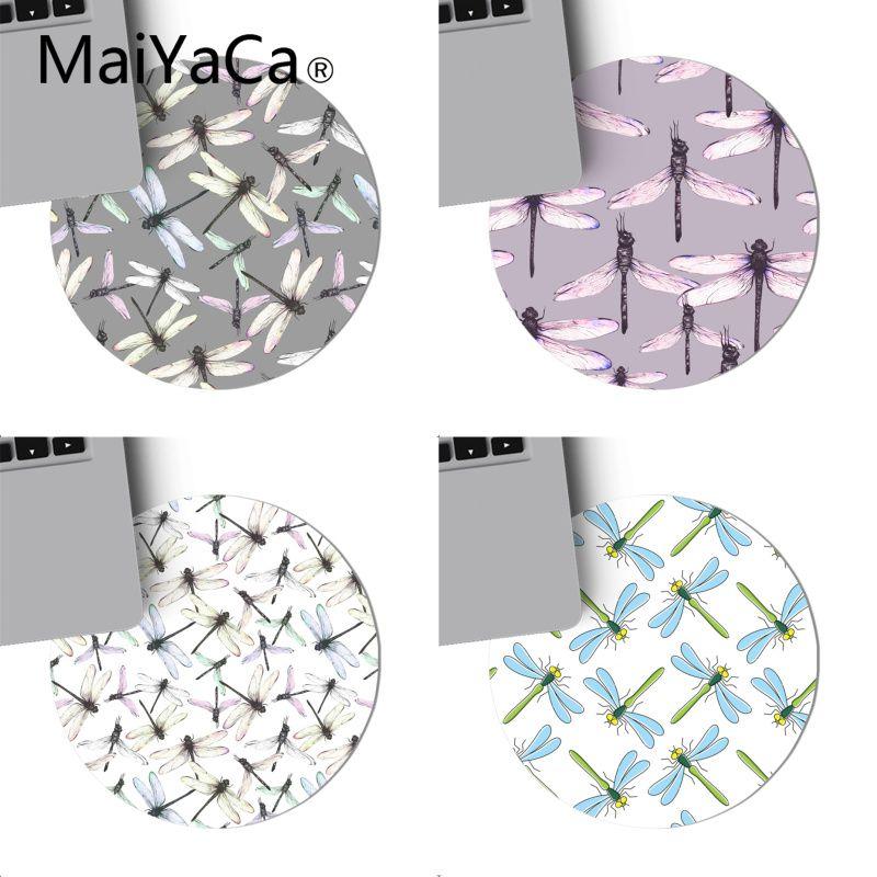MaiYaCa Dragonfly Pattern Keyboard Gaming MousePads Game Mouse Pad round mouse Mat Anti Slip gaming Mousepad 22x22cm