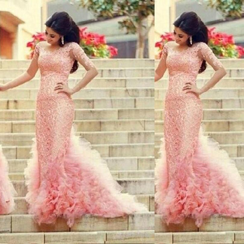 2018 Fashion Sheer Long Sleeves Lace Elegant Evening Prom Gowns Ruffles Party Mermaid Bridal Gown Mother Of The Bride Dresses