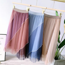 Summer Boho Mesh Skirt Hit Color Patchwork High Waist Double Layer 2021 Spring Women Elegant Long Skirt Faldas Jupe Saia