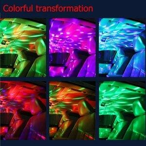 Автомобильная светодиодная автомобильная лампа USB окружающий светильник DJ RGB Мини Красочный музыкальный звуковой светильник USB-C интерфейс ...