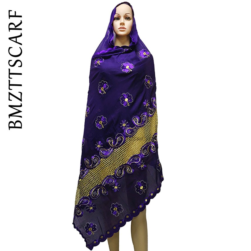 New African Muslim Embroidered Women Cotton Scarf, Beautiful And Economical,cotton Big Size Lady Scarf For Shawls BM972