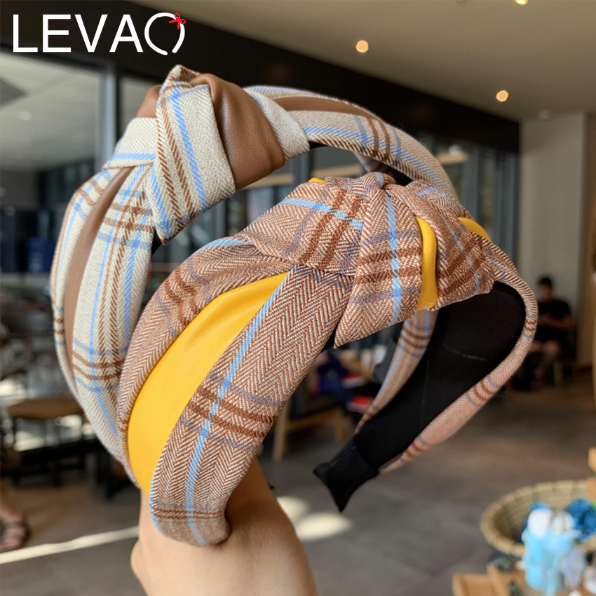 Levao Retro PU Leather Knotted Headband Plaid Print Cross Knot Hairband Bezel New Lattice Hair Hoop For Women Hair Accessories