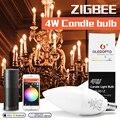 Zigbee rgb светодиодная подсветка приложение умное управление работа с 3 0 шлюзом smartthings 4 Вт rgbw теплый белый холодный белый светодиод e12 e14 tapy