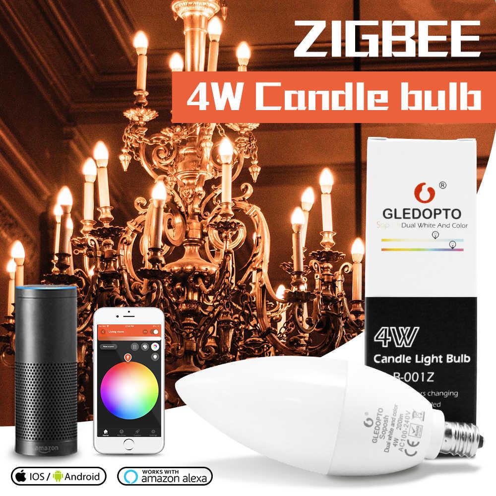زيجبي rgb led ضوء الشموع APP التحكم الذكي العمل مع 3.0 بوابة الذكية 4 واط rgbw الدافئة الأبيض كول الأبيض LED e12 e14 tapy