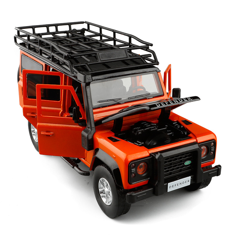 1:32 High Simulation 2010 Land Rover Defender Travel Edition Off-road Vehicle Six Doors Sound And Light Back Metal Car Model Toy