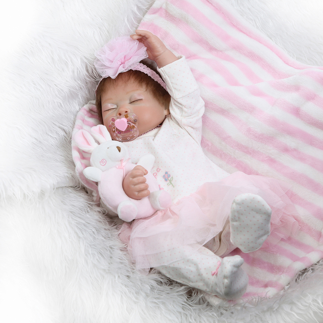 Pink Sleeping Bebe Doll Reborn Baby Soft Silicone Hand Rooted Hair 4