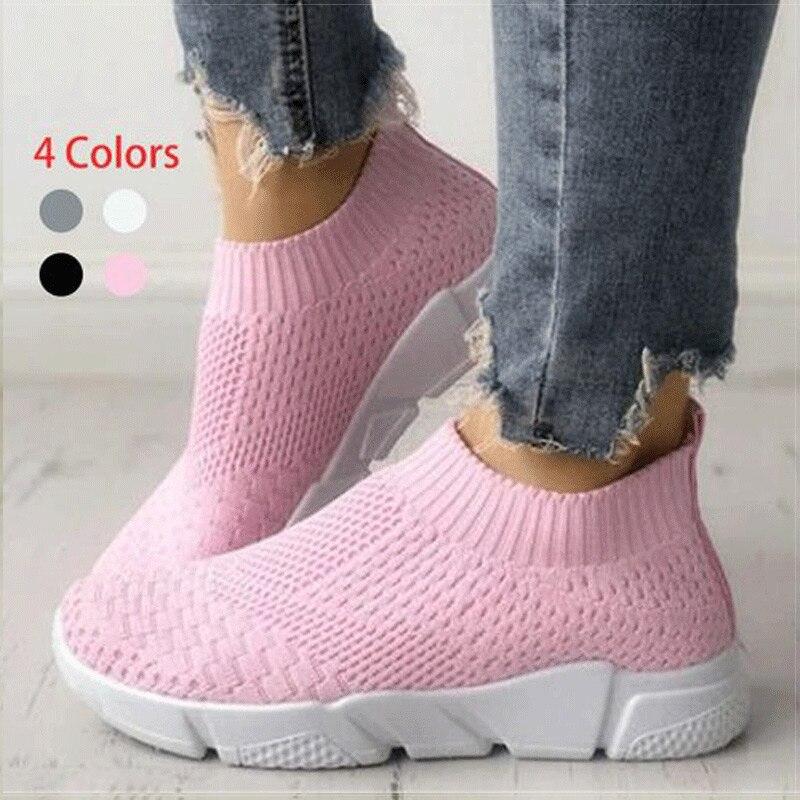 Women Shoes Slip On White Sneakers For Women Vulcanize Shoes Flyknit Basket Femme Super Light Women Casual Shoes Chunky Sneakers