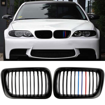 A pair High Quality Front Kidney Glossy Black Grilles For BMW E36 M3 3 Series Left & Right KD1 Heat Sale Car styling image