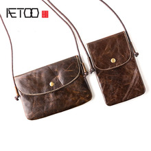 AETOO Ladies mobile phone small bag student casual retro portable new leather shoulder