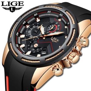 Image 1 - LIGE 패션 남성 시계 톱 브랜드 럭셔리 실리콘 스포츠 시계 남자 석영 날짜 시계 방수 손목 시계 Relogio Masculino