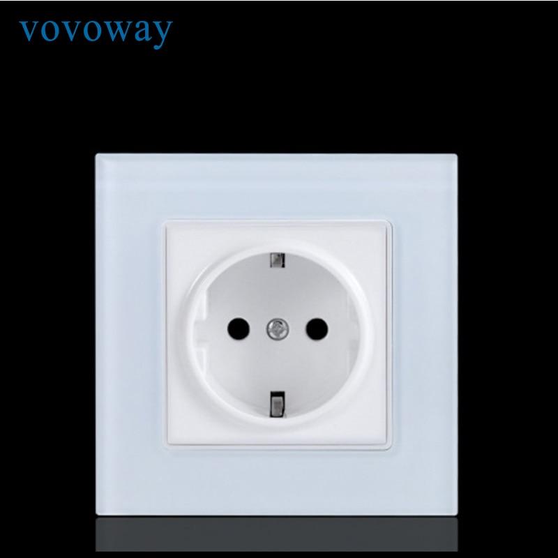 Image 2 - Vovoway power wall socket tempered glass panel AC110V 250V 16A EU standard socketElectrical Sockets   -