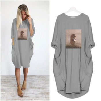 Summer Women Dresses Hedgehog in The Fog Print Cartoon Clothes Loose Women Clothes Plus Size Mini Dress Casual Mujer Fashion 2019 summer women dresses donald duck cartoon print casual loose white mini women clothes plus size dress femme