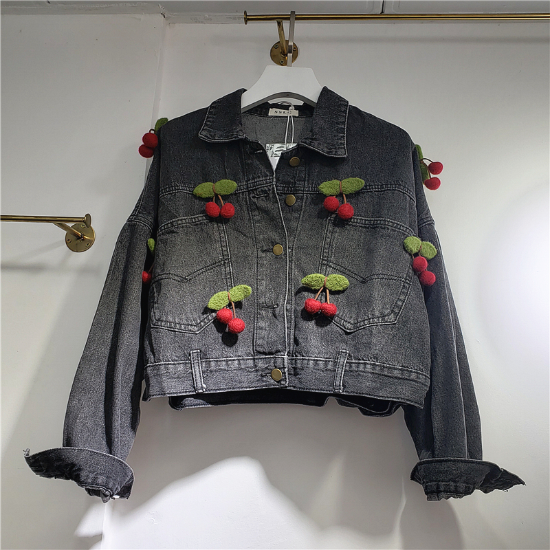 Womens Jackets and Coats Autumn New Personality Removable Small Cherry Pendant Denim Jacket Women's Loose-Fit-Style Jacket Top image