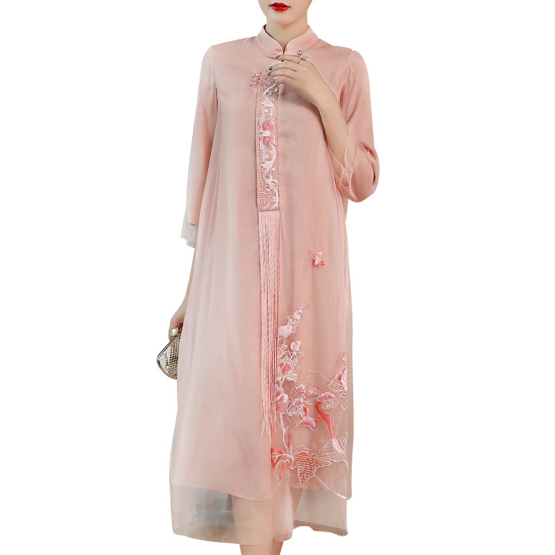Best Deal⌡Modified-Dress Qipao Collar Hanfu Heavy-Embroidery Chinese-Style Early-Autumn Women Seven-Sleeve