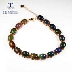 TBJ,30ct Natural Black opal gemstone Bracelet oval cut 7*9mm Ethiopian opal  925 sterling silver fine jewelry for women gift