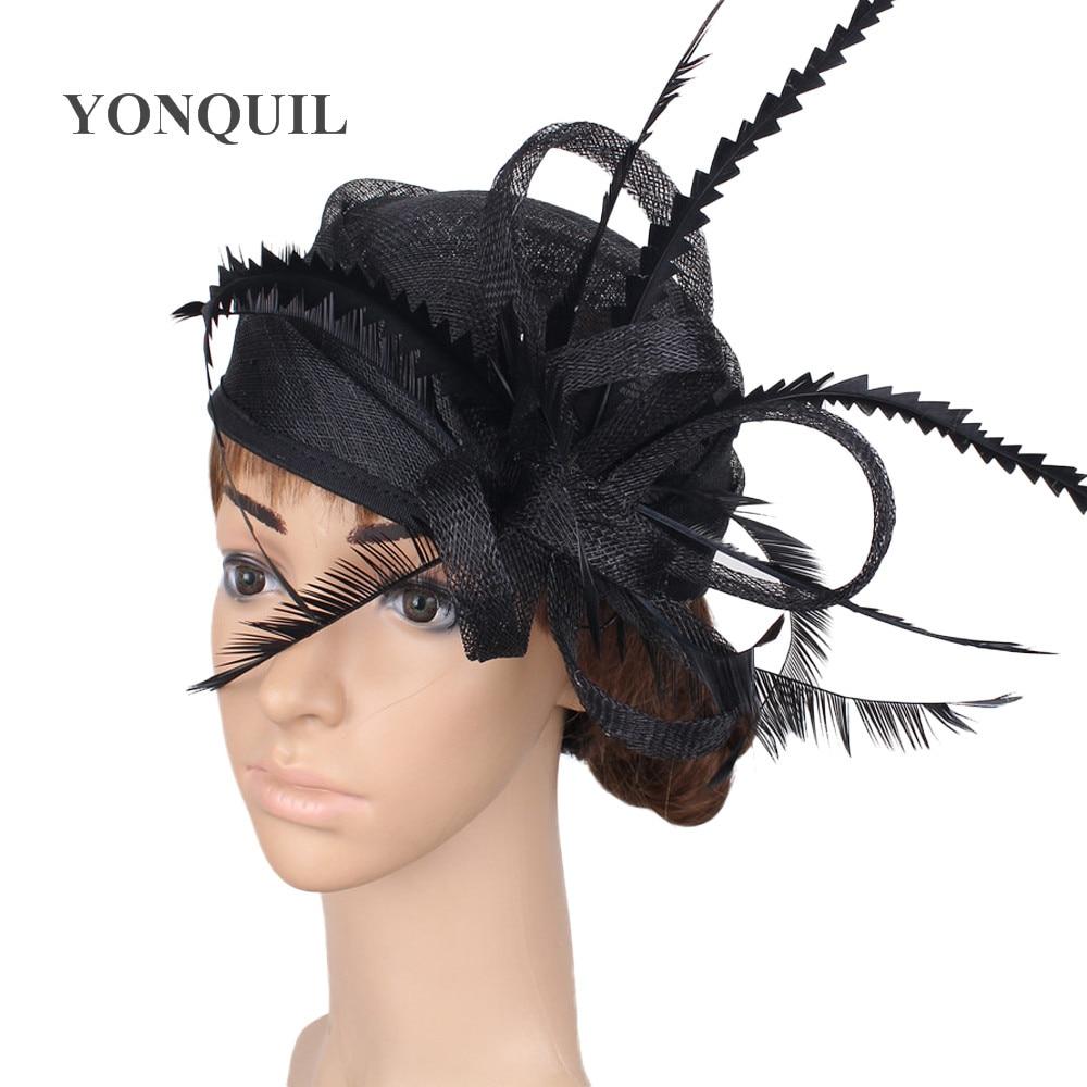 Nice fashion sinamay wedding chapeau cap bridal elegant fascinator hat hair pin fancy feather headpiece women party millinery