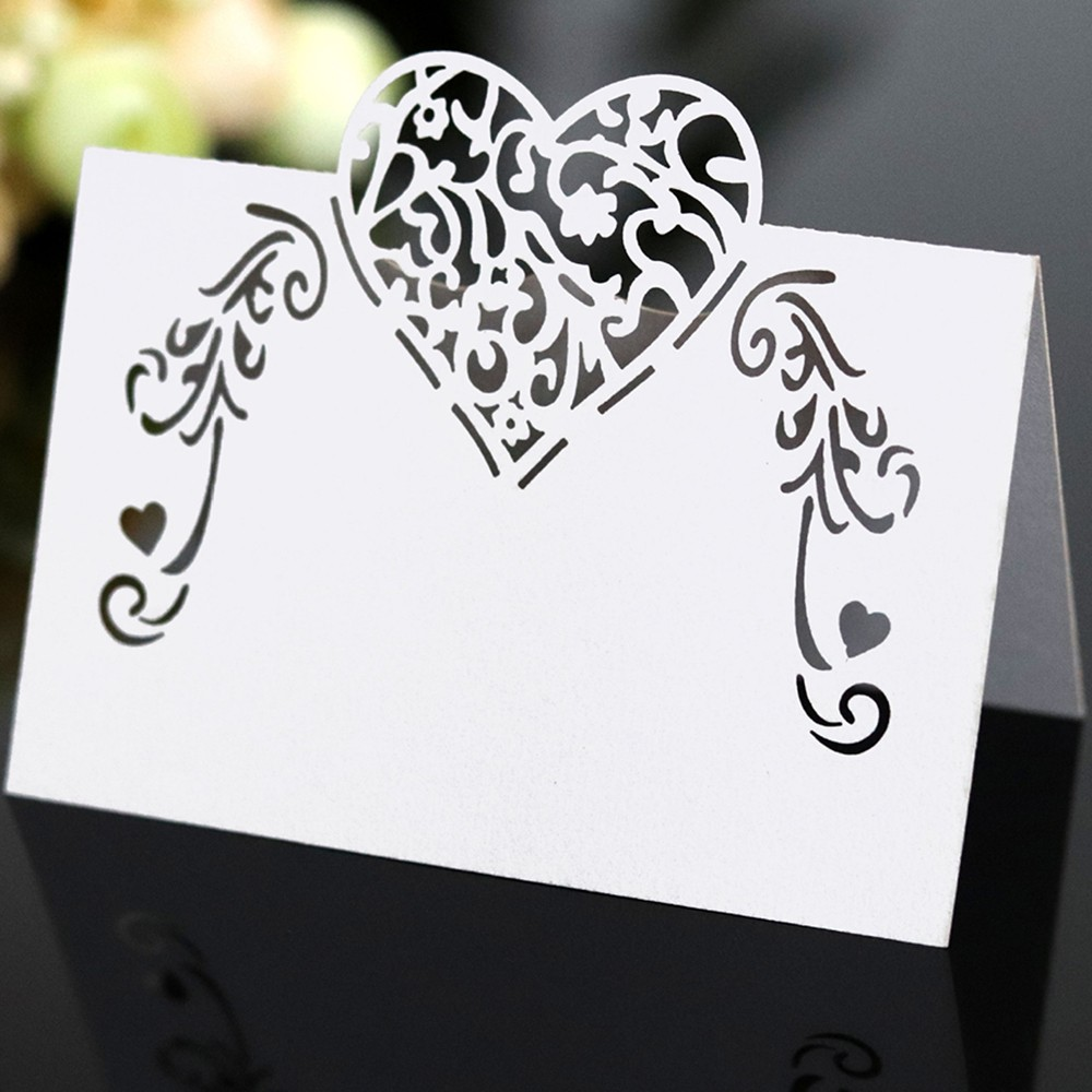 50pcs Laser Cut Heart Shape Place Cards Wedding Name Cards For Wedding Party Table Decoration Wedding Decor image