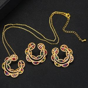 Image 5 - GODKI Sunflower Charms 2PC Nigerian Necklace Earring Jewelry Set For Women Wedding Cubic Zircon Indian Dubai Bridal Jewelry Sets