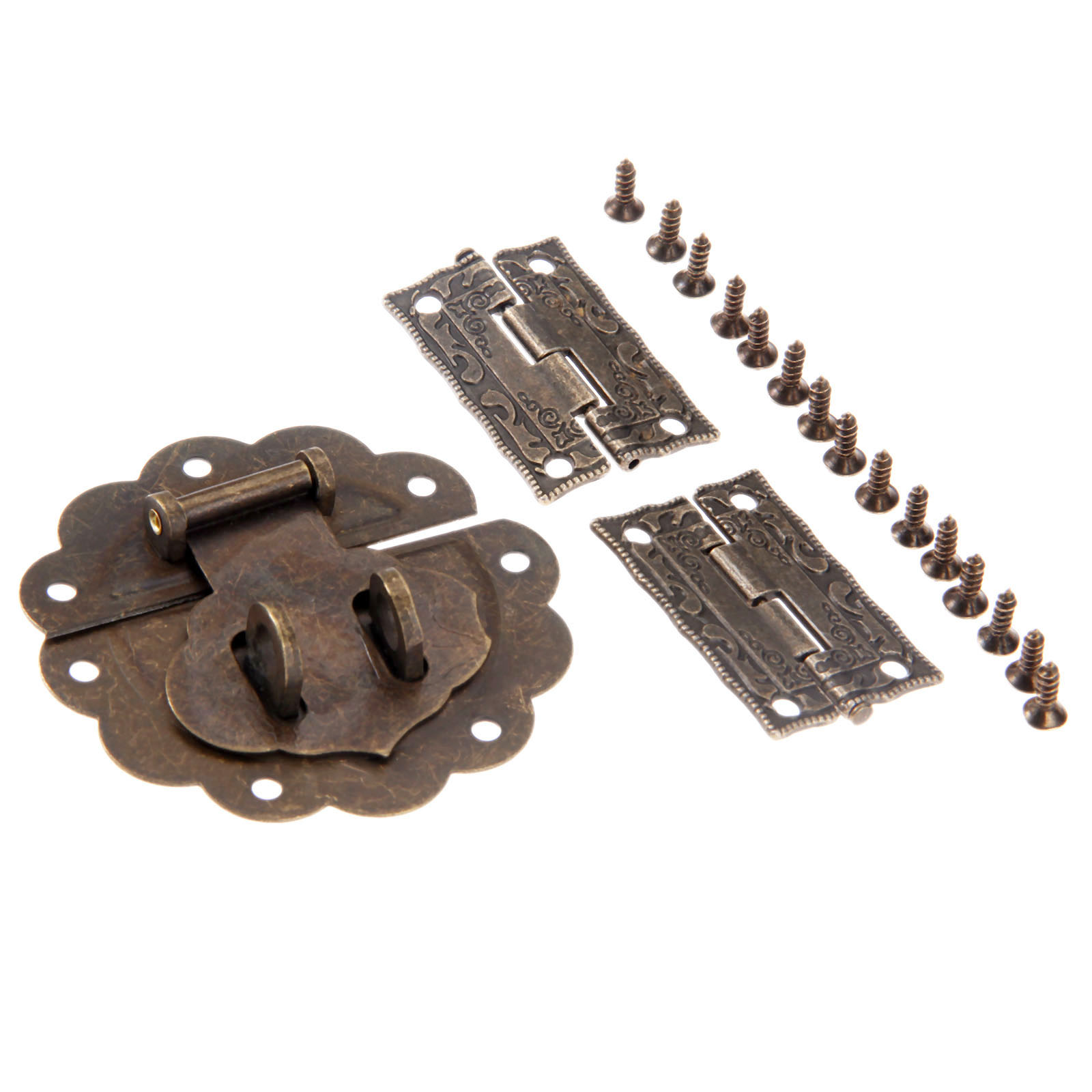 3pcs/kit Latch Hasp Toggle Buckle+ Hinges Antique Bronze Vintage Decor Furniture Hardware Jewelry Wood Box case Cabinet Cupboad