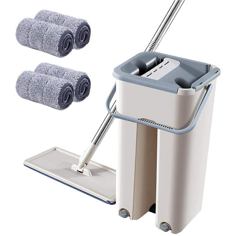Foldable Flat Floor Mop and Buckets Set with Washable Pads Wash Home Cleaning System Cleaner Mop Wet or Dry Floor Cleaning image
