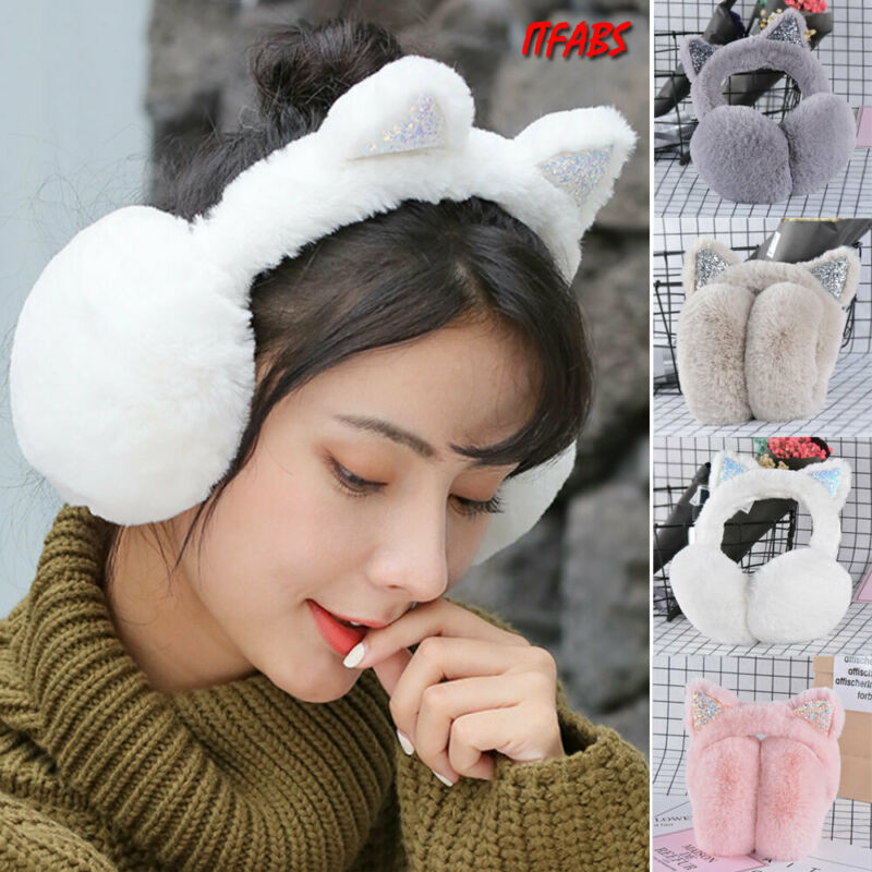 Women Girl Cat Earmuffs Fur Warm Women Ear Protect Cute Faux Soft Fluffy Earcap