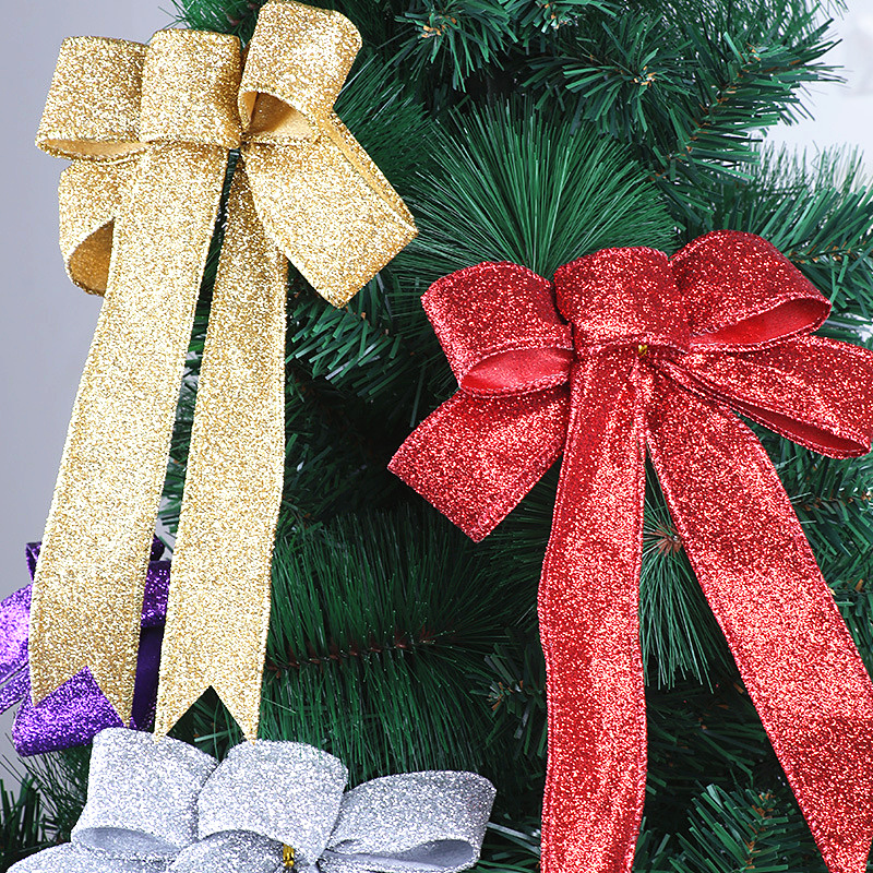 23cm Large Glitter Cloth Christmas Bow Christmas Tree Decorations Xmas Ornaments for New Year Home Bowknots Decor