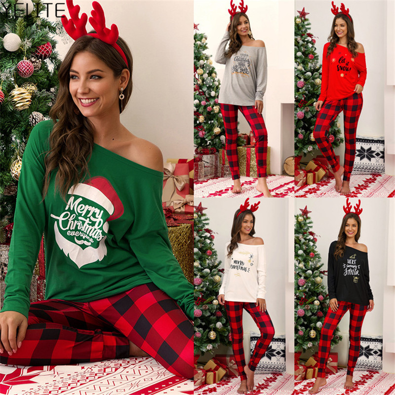 YELITE Women Xmas Letter Print Raglan Sleeve Top+Leggings Christmas Party Striped Nightwear Pyjamas Kit Plus Size S-5XL