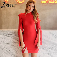INDRESSME 2019 New Fashion Women Sexy Bandage Dress Flare Long Sleeve Slit Bodycon Club Party Dresses For Lady Vestidos Winter(China)