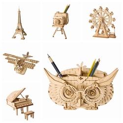 Robotime-7 tipos de animales en 3D de madera para niños y adultos, rompecabezas de construcción, juego de ensamblaje juguete para regalo, Kits de modelos TG207