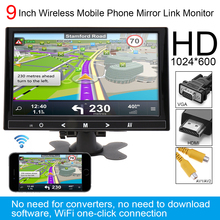 9 Inch HD IPS 1024*600 TFT LCD Color Multifunction Car Headrest Monitor support HDMI VGA AV Wireless Mobile Phone Mirror Link