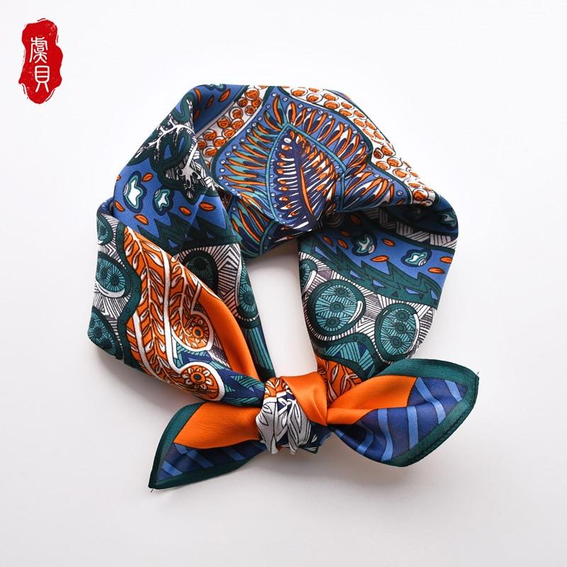 Orange blue 100% nature silk scarf women printed luxury small square stain scarves hair band fashion vintage bandana ladies gift|Women's Scarves| - AliExpress