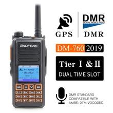 החדש BaoFeng UHF VHF כפולה מותג DMR DM 760 Tier 1 & 2 חריץ זמן כפול דיגיטלי/אנלוגי ווקי טוקי עם GPS uppgrade של DM 1701