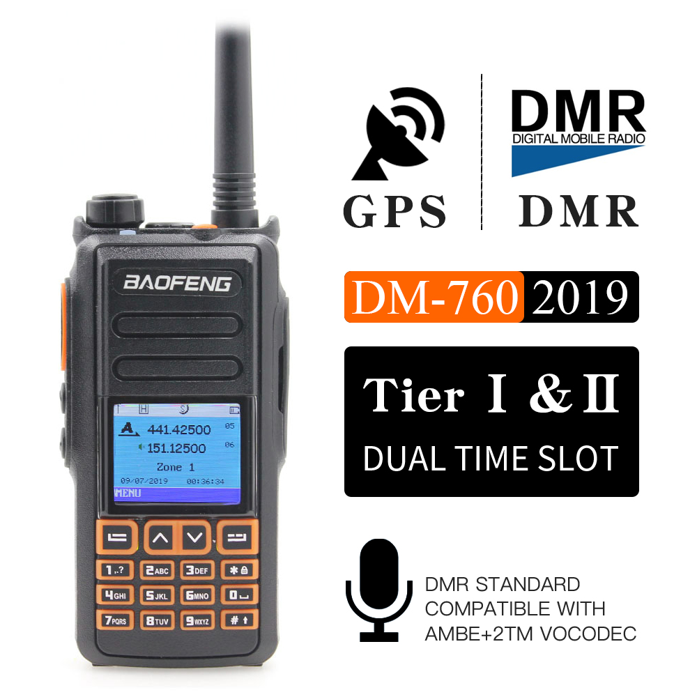 New BaoFeng UHF VHF Dual Brand DMR DM-760 Tier 1&2  Dual Time Slot Digital/Analog Walkie Talkie With GPS Uppgrade Of DM-1701