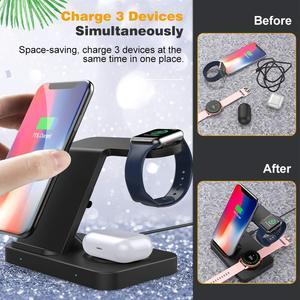 Image 3 - 5 Trong 1 Đế Đứng Sạc Nhanh Dành Cho Samsung S20 iPhone 11 IWatch 15W Sạc Không Dây Qi Cho Galaxy đồng Hồ Bánh Răng Nụ Tai Nghe Airpods Pro