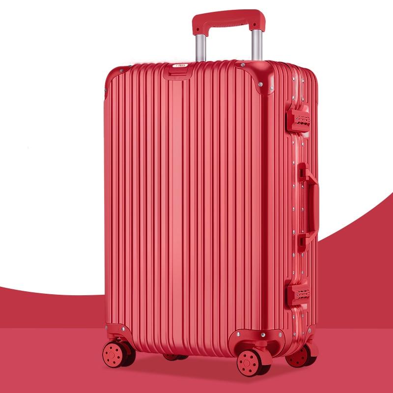 Super fashion NEW luggage bag travel suitcase business luggage trolley case on wheel aluminum frame hardside Silent suitcase
