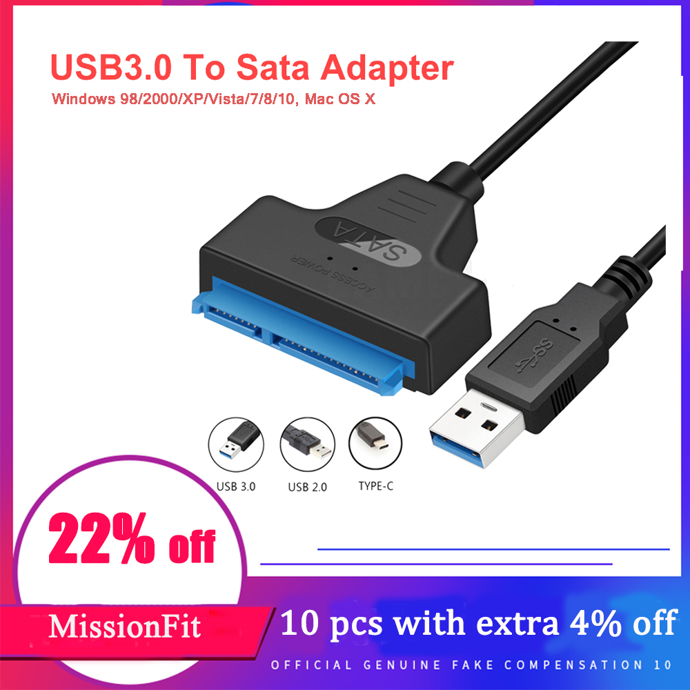 Sata To USB 3.0 Adapter USB SATA 3 Cable UP To 6 Gbps Support 2.5Inch External SSD HDD Hard Drive 22 Pin Sata III A25