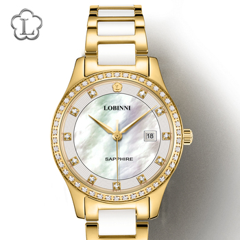 Switzerland Luxury Brand Wristwatches LOBINNI Japan Import Quartz Watch Women Fashion Diamond Water Resistant Lady Clock L2005L